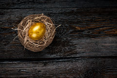Golden egg in a nest. On dark wooden background royalty free stock photo