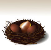 Golden egg in a nest . EPS 10 vector Royalty Free Stock Images