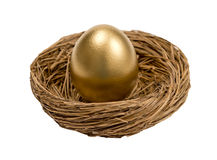 Golden Egg In Nest Isolated On White. Golden egg standing up in a little nest.  Great concept for the nest egg.  Isolated on white background Royalty Free Stock Photography
