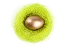 Golden egg is in the nest of sisal fibre Stock Images