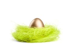 Golden egg is in the nest of sisal material Stock Images
