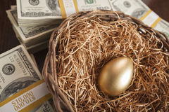 Golden Egg in Nest and Thousands of Dollars Surrounding Royalty Free Stock Image