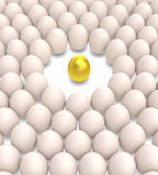 Golden egg among normal eggs Royalty Free Stock Photos