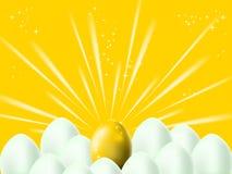 Golden egg on orange background Royalty Free Stock Photo
