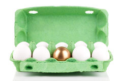 Golden egg in the package Stock Photography
