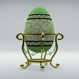 Golden egg on pedestal. Green egg with pattern in raster Royalty Free Stock Image