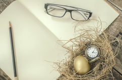 Golden egg, pocket watch in the nest, Royalty Free Stock Photo