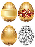 Golden Egg with Red Bow Stock Image