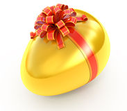 Golden egg with ribbon Royalty Free Stock Photography