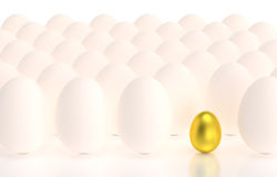 Golden egg in rows of eggs Royalty Free Stock Photos