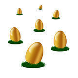 Golden egg's on green grass isolated Royalty Free Stock Photo
