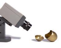 Golden Egg Security. A surveillance camera watches a golden egg Royalty Free Stock Photos