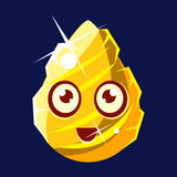 Golden Egg-Shaped Cute Fantastic Character With Big Eyes Vector Emoji Icon Royalty Free Stock Photos