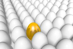 Golden egg, standing out of the crowd, extraordinary, 3D, idea... Stock Photos