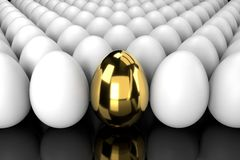 Golden Egg Standing Out From The Crowd with reflection vector illustration