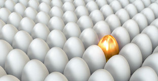 Golden egg standing out from others. Golden egg standing out from the others. Conceptual illustration. 3d render Stock Photos