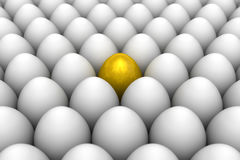 Golden egg standing out from the others. 3D illustration render Stock Images