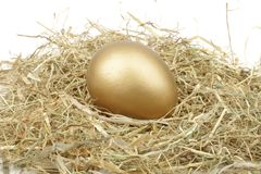 Golden egg in straw Royalty Free Stock Photography