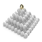 Golden egg at the top of the other ones. Hierarchy and management: golden egg at the top of the other ones stock illustration