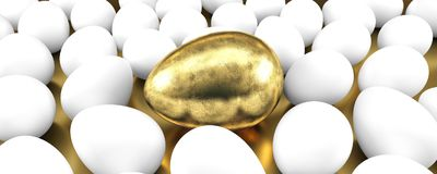 Golden egg among usual eggs. Concept of individuality. 3D illustration Stock Photo