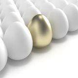 Golden egg among usual white eggs Stock Photography