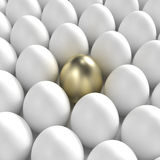 Golden egg among usual white eggs. Individuality: golden egg among usual white eggs royalty free illustration