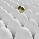 Golden egg among usual white eggs. Individuality: golden egg among usual white eggs Royalty Free Stock Photography