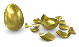 Golden egg on a white background: not hatched and Stock Image