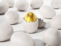 Golden egg among white eggs. 3D illustration Stock Images