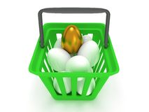 Golden egg among white eggs in shopping basket Royalty Free Stock Images