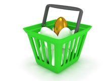 Golden egg among white eggs in shopping basket Stock Photography