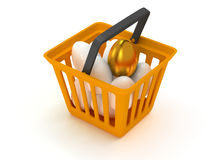 Golden egg among white eggs in shopping basket Stock Images