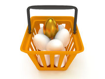Golden egg among white eggs in shopping basket Stock Photo
