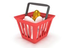 Golden egg among white eggs in shopping basket Stock Image