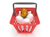 Golden egg among white eggs in shopping basket Stock Photos