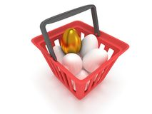 Golden egg among white eggs in shopping basket Royalty Free Stock Photo