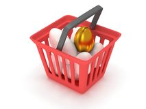 Golden egg among white eggs in shopping basket Royalty Free Stock Photography