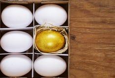 Golden egg and white eggs Stock Image