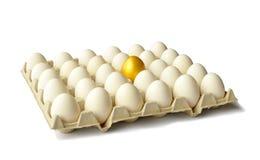 Golden egg among hen eggs on white