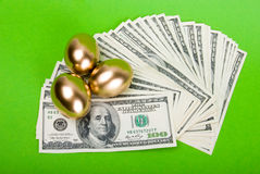 Golden eggs. Royalty Free Stock Photography