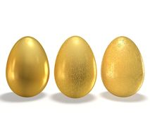 Golden eggs. With the texture pattern on a white background Royalty Free Stock Photography