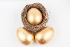 Golden eggs and bird nest Royalty Free Stock Images