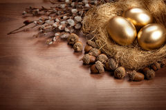 Golden eggs and catkin - Easter background royalty free stock photos