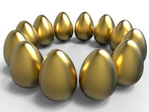 Golden eggs circular pattern Royalty Free Stock Images