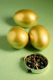 Golden Eggs and Compass Royalty Free Stock Photos