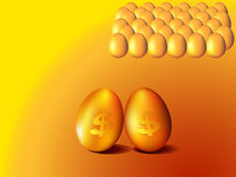 Golden eggs with dollar sign. Illustration of golden eggs with dollar sign Stock Photos