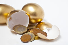 Golden Eggs With Euro Coins Stock Images