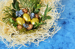 Golden eggs in the nest. On a blue background Royalty Free Stock Image