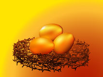 Golden eggs in nest. Which is with concept of business Royalty Free Stock Images