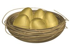 Golden Eggs in Nest. Five golden eggs in a straw nest. Nice metallic and reflective texture on eggs. Good for Easter holiday or financial metaphor representing Stock Images